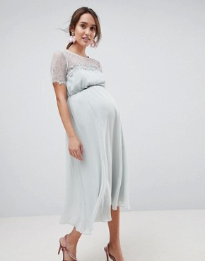 photo Lace Insert Midi Dress with Floral Embellished Trim by ASOS Maternity, color Mint - Image 1