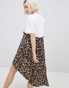 photo Mixed Print Smock Dress with hi Low Hem by ASOS DESIGN, color Leopard Print - Image 2