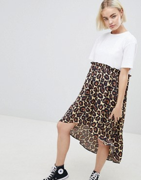 photo Mixed Print Smock Dress with hi Low Hem by ASOS DESIGN, color Leopard Print - Image 1