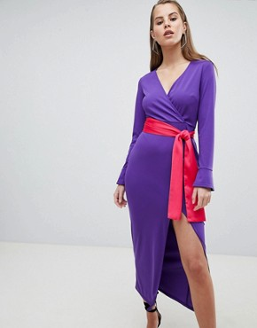 photo Maxi Dress with Long Sleeve and Contrast Belt by ASOS DESIGN, color Bright Purple - Image 1