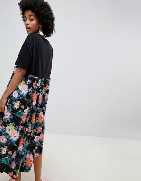 photo Mixed Print Smock Mini Dress with hi Low Hem by ASOS DESIGN, color Floral Print - Image 2