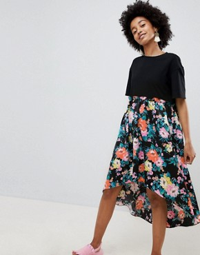 photo Mixed Print Smock Mini Dress with hi Low Hem by ASOS DESIGN, color Floral Print - Image 1