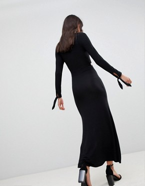 photo Maxi Dress with Long Sleeve and Cut Outs by ASOS DESIGN, color Black - Image 2