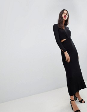 photo Maxi Dress with Long Sleeve and Cut Outs by ASOS DESIGN, color Black - Image 1