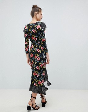 photo Maxi Wrap Dress in Mix Print by ASOS DESIGN, color Mixed Print - Image 2