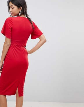 photo Crepe Tea Dress with Flutter Sleeve by ASOS DESIGN, color Red - Image 2