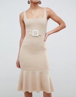 photo Pencil Dress with Contrast Buckle by ASOS, color Camel - Image 3