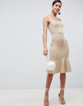 photo Pencil Dress with Contrast Buckle by ASOS, color Camel - Image 4