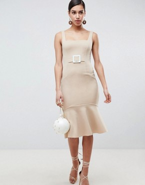 photo Pencil Dress with Contrast Buckle by ASOS, color Camel - Image 1