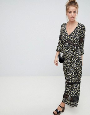 photo Maxi Tea Dress in Floral Print with Lace Inserts by ASOS DESIGN, color Floral Print - Image 1