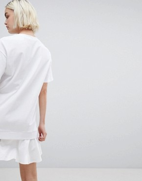 photo t-shirt Dress with Woven Frill Hem by ASOS DESIGN, color White - Image 2