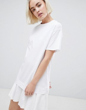 photo t-shirt Dress with Woven Frill Hem by ASOS DESIGN, color White - Image 1