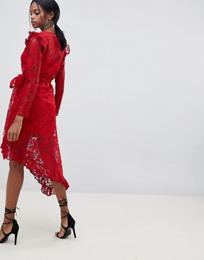 photo Wrap Lace Dress with Asymmetric Hem by ASOS DESIGN, color Red - Image 2