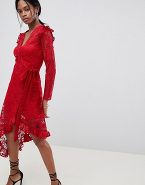 photo Wrap Lace Dress with Asymmetric Hem by ASOS DESIGN, color Red - Image 1