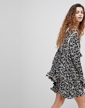 photo Like You Best Ditsy Floral Print Dress by Free People, color Black Combo - Image 2