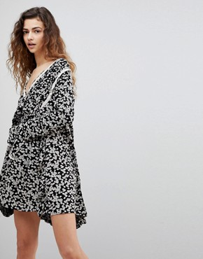 photo Like You Best Ditsy Floral Print Dress by Free People, color Black Combo - Image 1