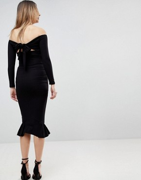 photo Bardot Bow Back Pephem Midi Dress by ASOS Maternity, color Black - Image 2