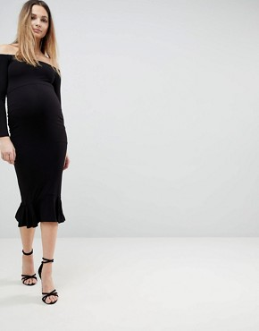 photo Bardot Bow Back Pephem Midi Dress by ASOS Maternity, color Black - Image 1