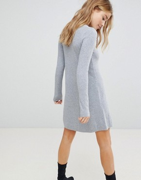 photo Knitted Jumper Dress by Bershka, color Grey - Image 2