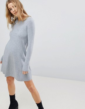 photo Knitted Jumper Dress by Bershka, color Grey - Image 1