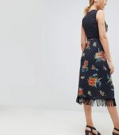 photo Wrap Dress with Fringe in Mixed Floral by ASOS TALL, color Multi - Image 2