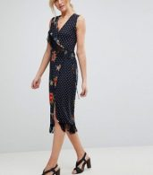 photo Wrap Dress with Fringe in Mixed Floral by ASOS TALL, color Multi - Image 4