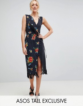 photo Wrap Dress with Fringe in Mixed Floral by ASOS TALL, color Multi - Image 1