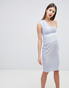 photo Maternity One Shoulder Bandage Midi Bodycon Dress by ASOS DESIGN, color Baby Blue - Image 1