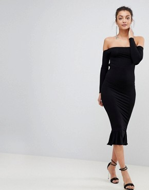 photo Bardot Bow Back Pephem Midi Dress by ASOS TALL, color Black - Image 2