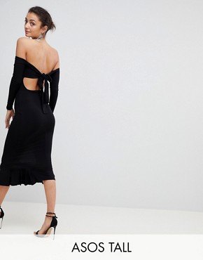 photo Bardot Bow Back Pephem Midi Dress by ASOS TALL, color Black - Image 1