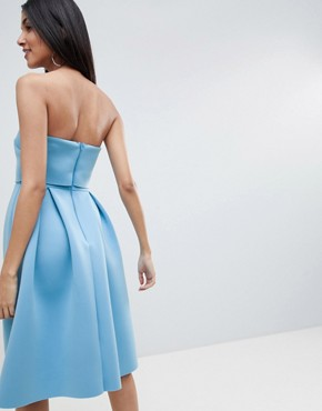 photo Bandeau Crop Top Prom Midi Dress by ASOS DESIGN Tall, color Blue - Image 2