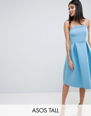 photo Bandeau Crop Top Prom Midi Dress by ASOS DESIGN Tall, color Blue - Image 1