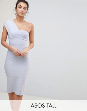 photo One Shoulder Bandage Midi Bodycon Dress by ASOS TALL, color Baby Blue - Image 1
