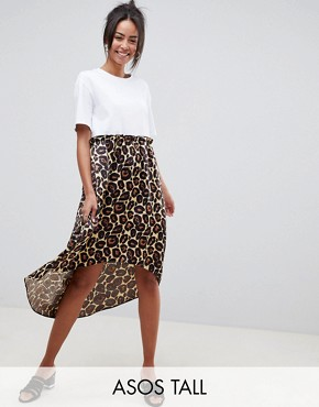 photo Mixed Print Smock Dress with hi Low Hem by ASOS DESIGN Tall, color Leopard - Image 1