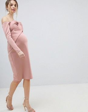 photo Long Sleeve Bandeau Origami Front Midi Dress by ASOS Maternity, color Mink - Image 1