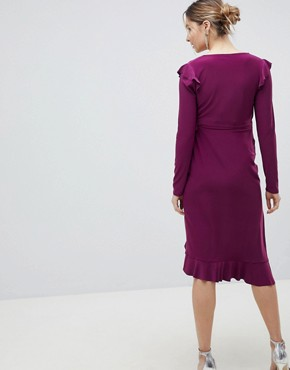 photo Frill Detail Wrap Dress by ASOS Maternity, color Purple - Image 2