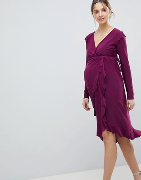 photo Frill Detail Wrap Dress by ASOS Maternity, color Purple - Image 1