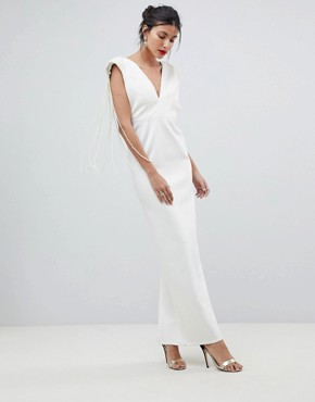 photo Deep Plunge Pearl Back Maxi Dress by ASOS DESIGN Tall, color Cream - Image 2
