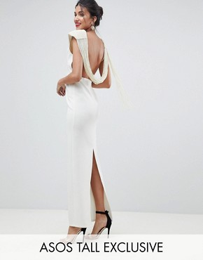 photo Deep Plunge Pearl Back Maxi Dress by ASOS DESIGN Tall, color Cream - Image 1