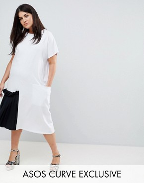photo Midi T-Shirt Dress with Contrast Woven Pleated Detail by ASOS CURVE, color White/Black - Image 1