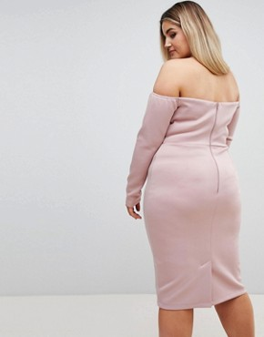 photo Long Sleeve Bandeau Origami Front Midi Dress by ASOS CURVE, color Mink - Image 2