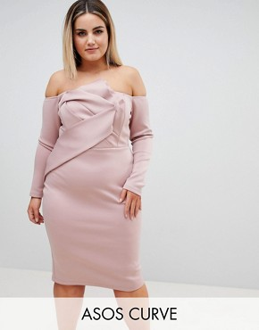 photo Long Sleeve Bandeau Origami Front Midi Dress by ASOS CURVE, color Mink - Image 1