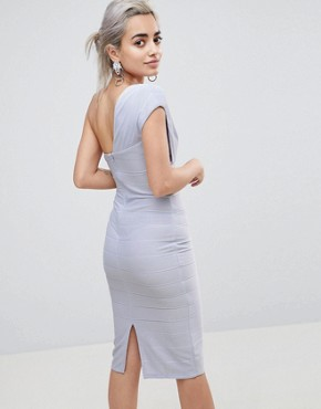 photo One Shoulder Bandage Midi Bodycon Dress by ASOS PETITE, color Baby Blue - Image 2