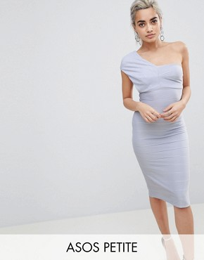 photo One Shoulder Bandage Midi Bodycon Dress by ASOS PETITE, color Baby Blue - Image 1