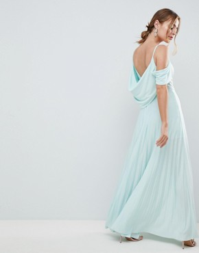 photo Cold Shoulder Cowl Back Pleated Maxi Dress by ASOS DESIGN Petite, color Mint - Image 2
