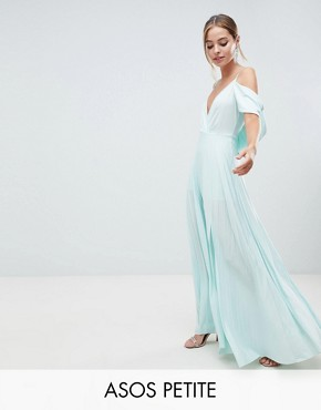 photo Cold Shoulder Cowl Back Pleated Maxi Dress by ASOS DESIGN Petite, color Mint - Image 1