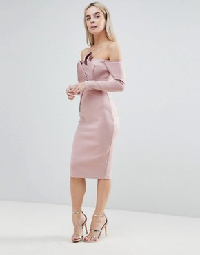 photo Long Sleeve Bandeau Origami Front Midi Dress by ASOS PETITE, color Mink - Image 4