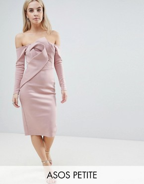 photo Long Sleeve Bandeau Origami Front Midi Dress by ASOS PETITE, color Mink - Image 1