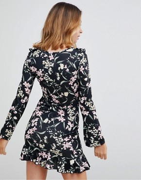 photo Floral Mini Dress by Missguided Petite, color Black - Image 2