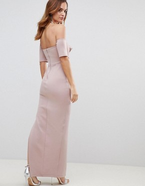 photo Scuba Bardot Folded Bow Front Maxi Dress by ASOS, color Mink - Image 2